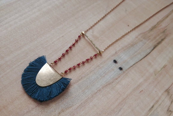 Boho Fringe Half Moon Necklace - Evening Sky.