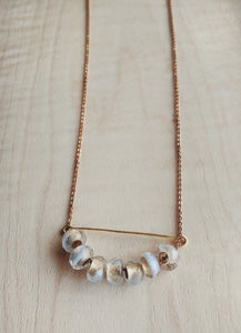 Minimalist Beaded Bar Necklace with Czech Glass Beads - Gilded Snow.