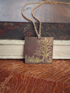 Tree Art Necklace Engraved Brass Tag - Winter Oak