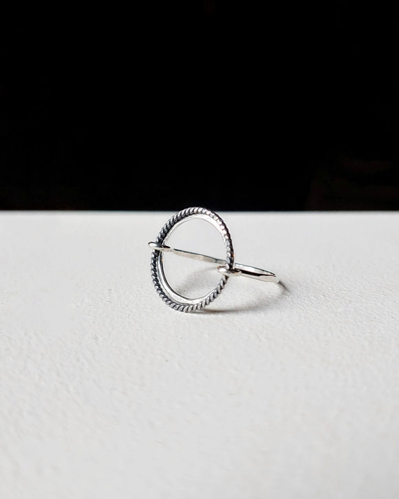 Sterling Silver Modern Boho Circle Ring - Eclipse