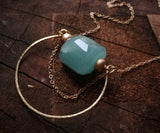 "Aventurine Circle Necklace - ""The Blue Grotto"""