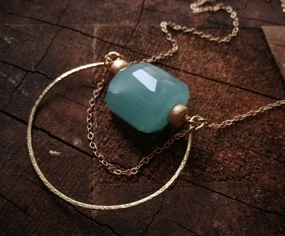 Aventurine Circle Necklace -