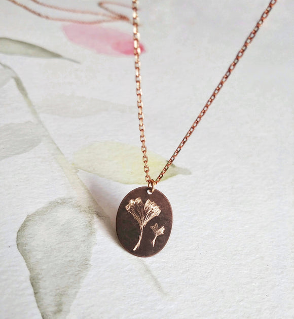 Botanical Art Necklace Engraved Brass Tag - Ginko Biloba.
