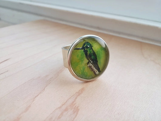 Hummingbird Ring Hand Painted Wearable Art  -  Mr. Green.