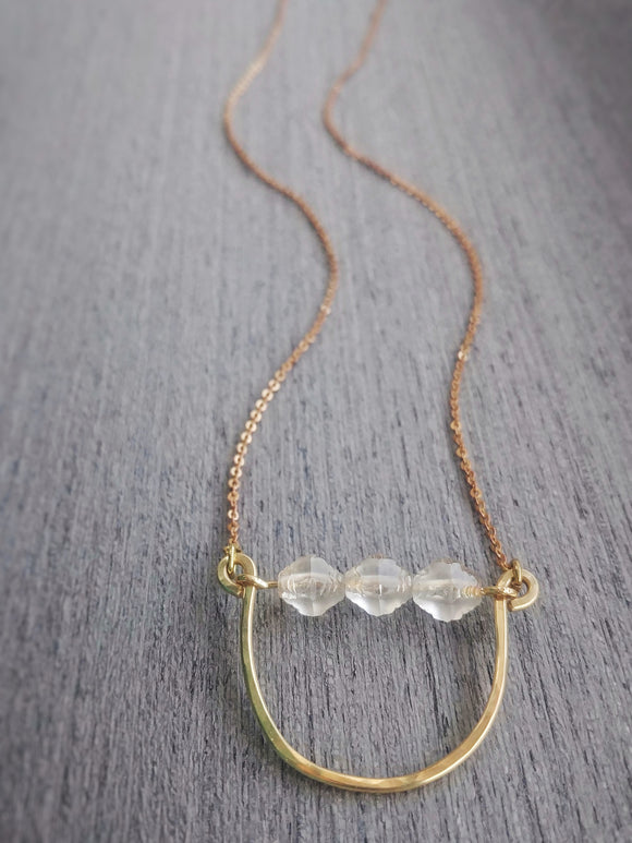 Minimalist Beaded Curve Bar Necklace with Czech Glass Beads - Shimmering Mist.