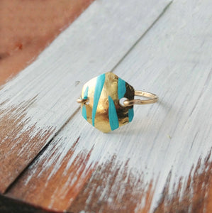 Hammered Hexagon Ring Boho Modern - Blue Tiger.