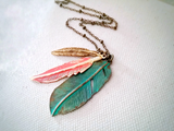 Bohemian Cluster Necklace Feather Cluster Czech Glass Leaf - Abilene No. 2