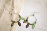 Bohemian Leaf Hoop Earrings Teardrop Shape Boho Modern - Helena.