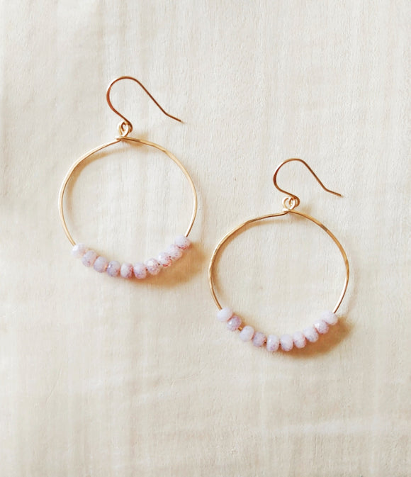 Brass Hammered Hoop Earrings Czech Glass - Softly.