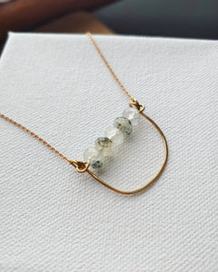 Prehnite Gemstone Curve Bar Necklace  - Pale Spring.