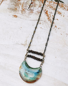 - Reserved - Boho Necklace Nomad Folk Wood Beads ~ Seascape Moon.
