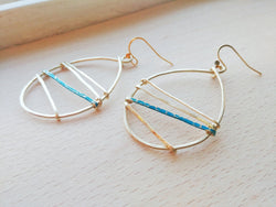 Brass Hammered Teardrop Earrings  -  Linear.