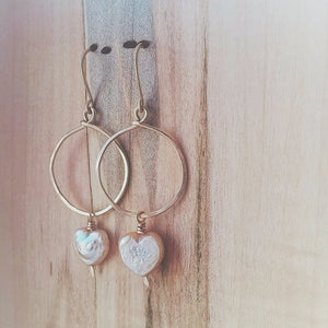 Hammered Heart Pearl Earrings - Much Love No. 3