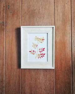 "Fall Leaves Botanical Art Print 5"" x 7"" - ""Pistachio in Autumn"""