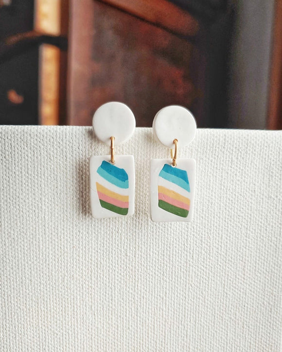 Polymer Clay Post Earrings - Retro Stripe No. 3