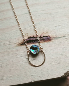 Minimalist Paua Shell Necklace - Kauai No. 4