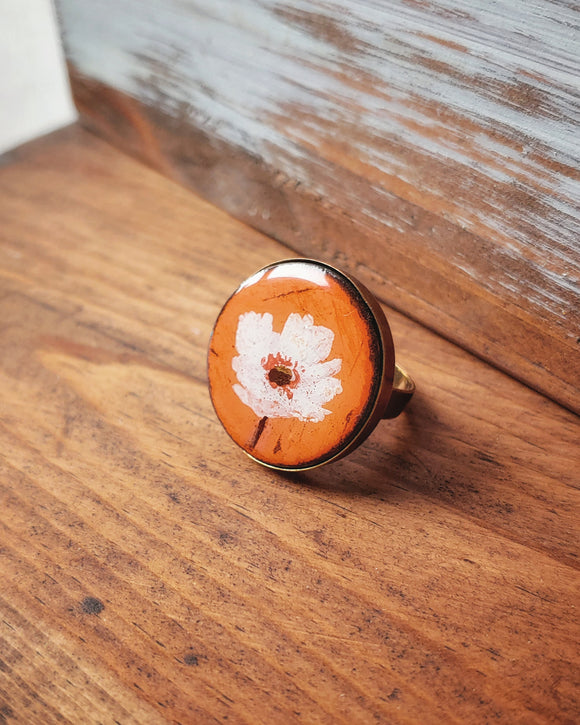 Hand Painted Ring - White Poppy.