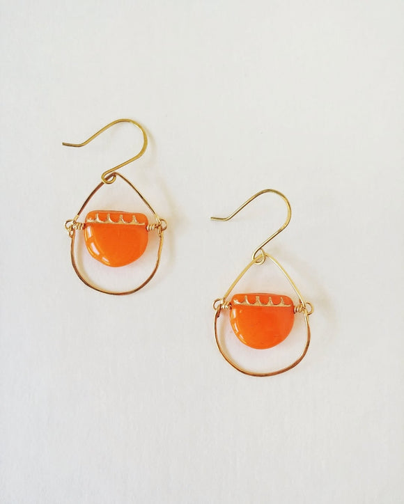 Hammered Teardrop Chandelier Earrings - Tangerine Drops.