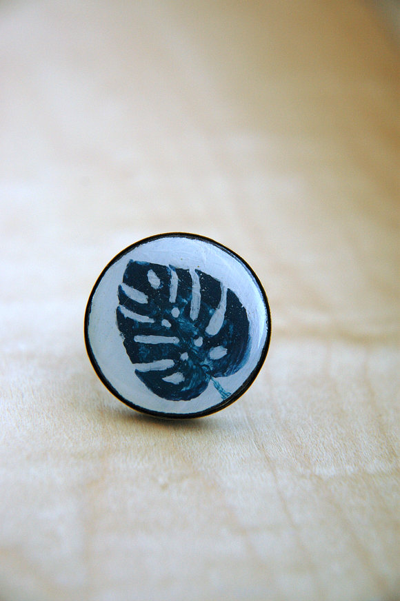 Hand Painted Ring No. 20 -  Monstera in Indigo Blue.