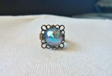 Statement Ring Vintage Rhinestone Victorian Edwardian Adjustable - The Pale Sapphire.