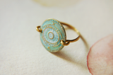 Embossed Disc Ring with Hammered Band - Roatan