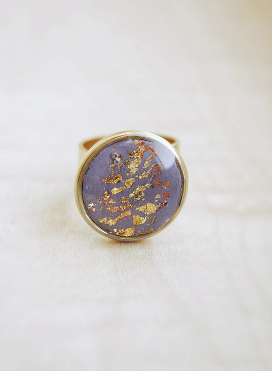 Polymer Clay Ring Mixed Metals  -  Sunset by the Lake.