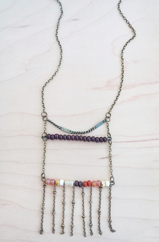 Boho Ladder Fringe Necklace with Glass Beads - Paige.