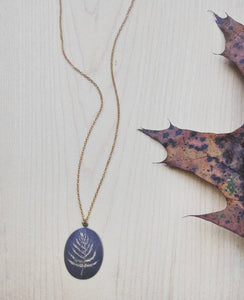 Botanical Art Necklace Engraved Brass Tag - Golden Fern.
