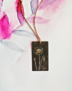 Botanical Art Necklace Engraved Brass Tag - Summer Poppy.
