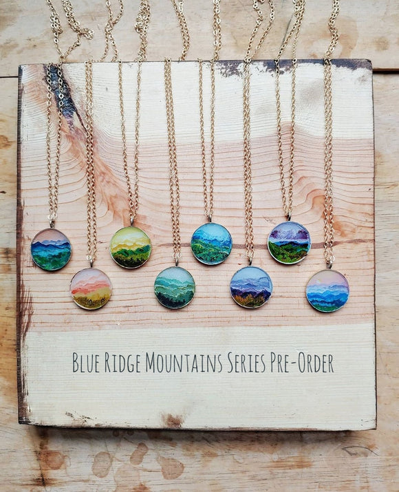 - Pre-order - Blue Ridge Mountains Necklace Hand Painted Wearable Art - Blue Ridge Mountains Series.