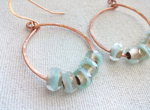 Copper Hammered Hoop Earrings Czech Glass - Golden Mint No. 1