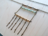 Boho Beaded Ladder Necklace with Glass Beads - The Golden Hour.