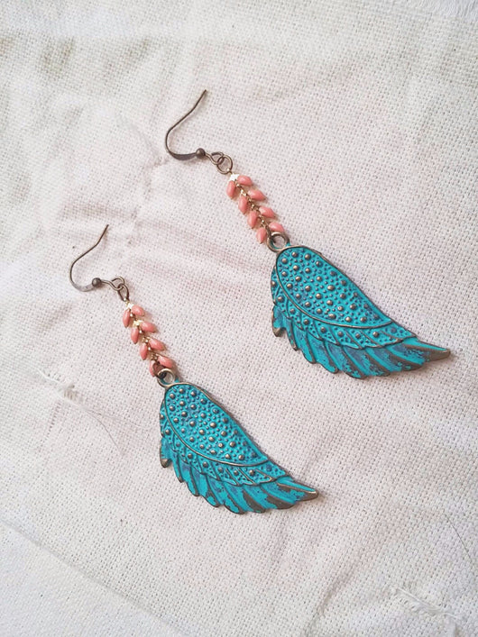 Bohemian Wing Dangle Earrings Patina Chevron - Adelina