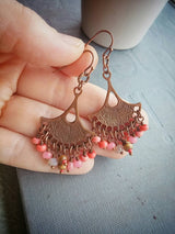 Chandelier Earrings Boho Chic Aztec Fan Shape Glass Beaded  - Peoria.