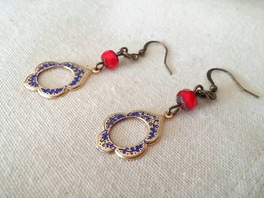 Bohemian Chic Dangle Earrings Moroccan Arabesque Hand Painted Beaded - Arabia