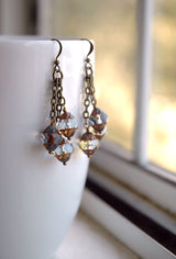Boho Chandelier Earrings Dangle Pale Blue Grey Lantern Czech Glass  - The Chateau.
