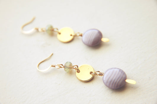 Modern Dangle Earrings Czech Glass Beaded -  Lavender Pistachio