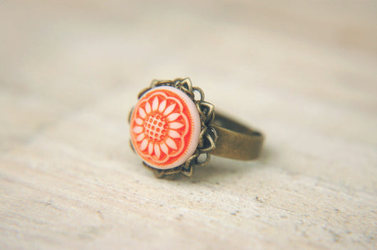 Cottage Chic Ring Vintage Bright Orange Czech Floral Glass Cabochon Adjustable  - Sunflower