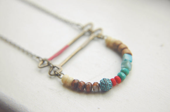 Boho Ladder Necklace Curve Bar Bohemian Multi-Colored Beaded ~ Kaya.