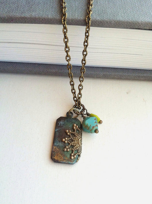 Bohemian Tag Necklace Filigree Verdigris Pendant with Czech Glass  - The Palisades.