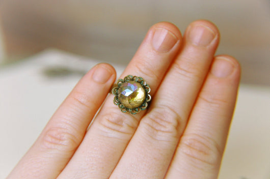 Statement Ring Vintage Cottage Chic Rhinestone Victorian Edwardian Adjustable - The Pale Yellow Daisy.