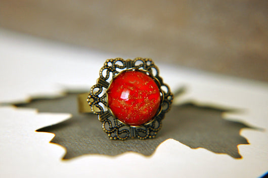 Scarlet Statement Ring Victorian Inspired Czech Glass Filigree Adjustable  - The Heiress II.
