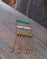 Bohemian Beaded Ladder Necklace with Glass Beads - Skye.