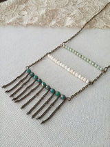 Boho Ladder Necklace Beaded Fringe Nomad Folk Glass Beads - Glacier