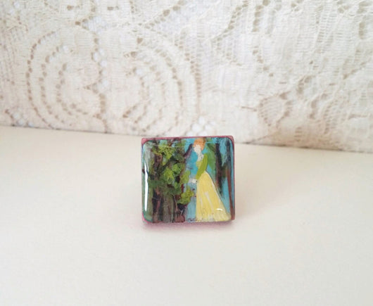 Statement Ring Victorian Edwardian Inspired Hand Painted Wood Tile  - Miss Addie.