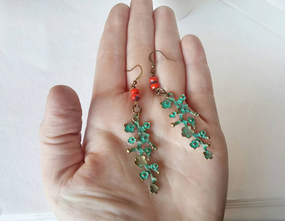 Cherry Blossom Dangle Earrings - Coral Blossom