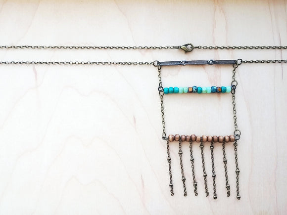 Bohemian Ladder Necklace Beaded Fringe with Glass Beads - Genoa.