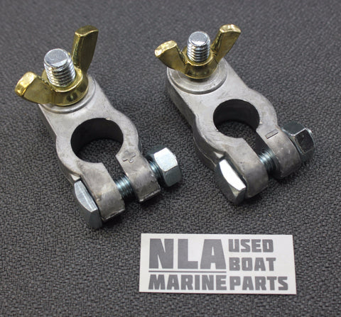 Marine Boat RV Battery Terminal Set Universal Top Post Wingnut Stud Connector