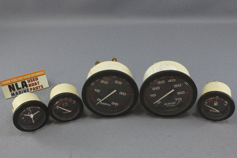 Boat Gauge Set Teleflex Outboard Gauges Bubble RPM Speedometer Voltage Fuel
