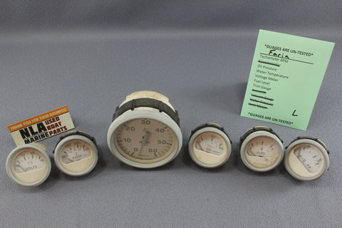 Boat Gauge Set Faria Gauges White Cream RPM Water Temp Oil Fuel Voltage Trim
